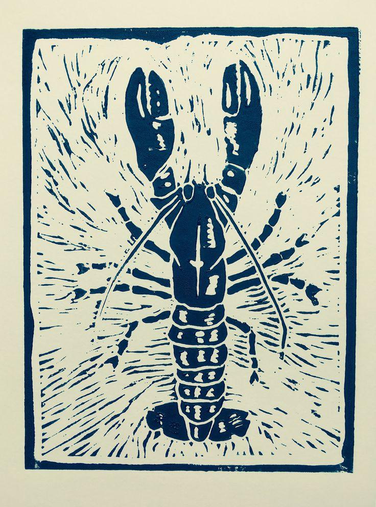 Black Lobster by HuPaLinocuts on Etsy https://www.etsy.com/uk/listing/534469999/black-lobster