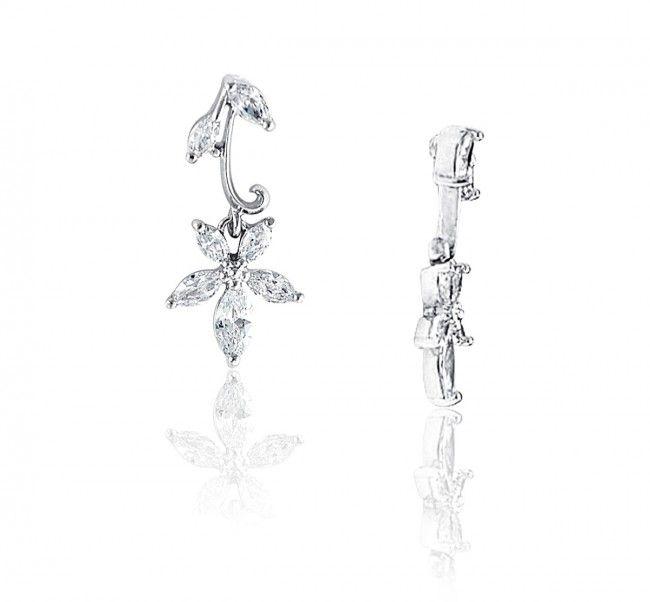 Dainty Cubic Flower Drop Earrings - $28.50