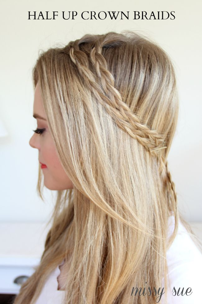half up fishtail braid | Braid 3-Half Up Crown Braids ...