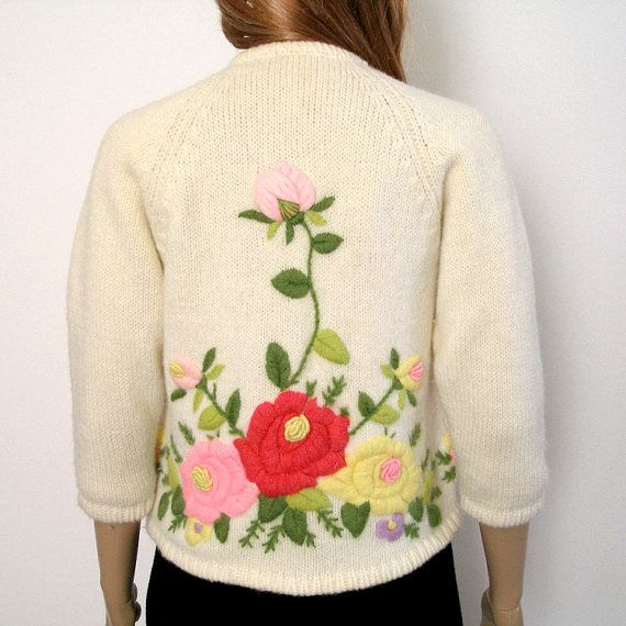 RESERVED For Terry 1950s 1960s Cardigan / 50s 60s Sweater / Floral Embroidered…