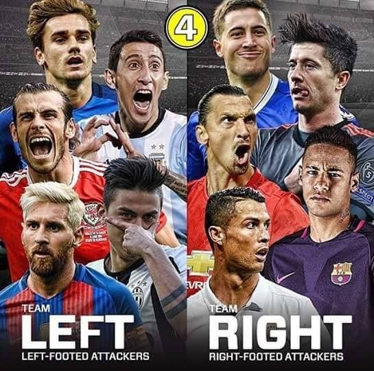 Którą drużynę wybierasz? - Lewonożni napastnicy czy prawonożni napastnicy? • Messi, Dybala, Bale vs Ronaldo, Lewandowski, Neymar • Zobacz #football #soccer #sports #pilkanozna #futbol #sport #memy #memes