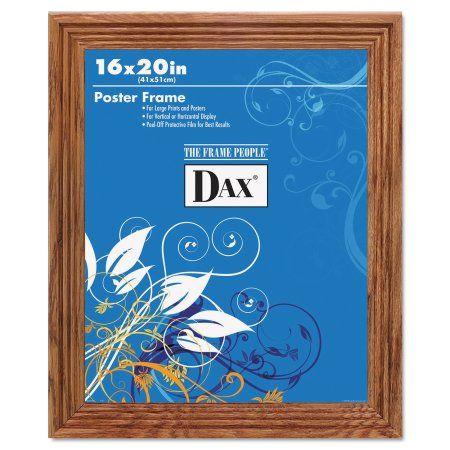 DAX Plastic Poster Frame, Traditional Clear Plastic Window, 16 x 20, Medium Oak, Brown