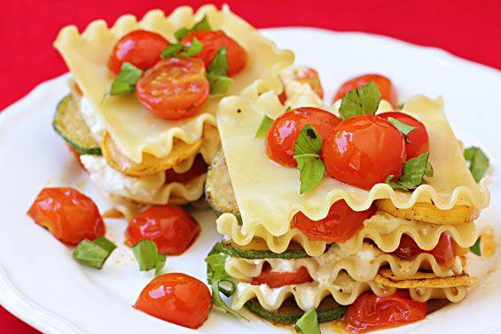 No Bake Summer Veggie Lasagna by gimmesomeoven #Lasagna #Veggie #gimmesomeoven