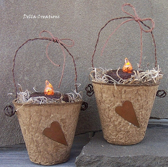 Prim Peat Pots with Grubby Votive & Rusty Tin by DellaCreations