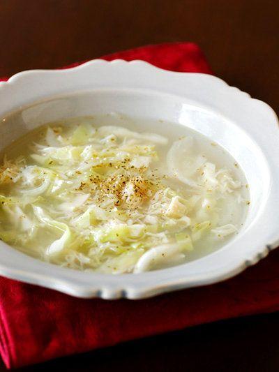ホタテ缶とキャベツの洋風スープ