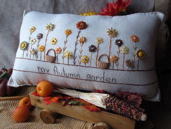 Mi almohada jardín de otoño Cottage Style por PillowCottage en Etsy