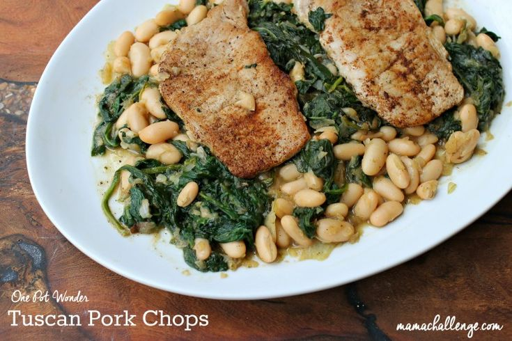 Enjoy this one-pot wonder recipe with Tuscan Pork Chops with Spinach and Cannellini Beans from Autumn Reo of MamaChallenge.com.