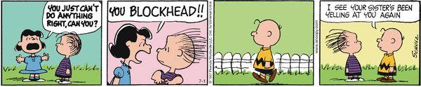 Oh, sibling trauma. Peanuts for 7/1/2014 | Peanuts | Comics | ArcaMax Publishing