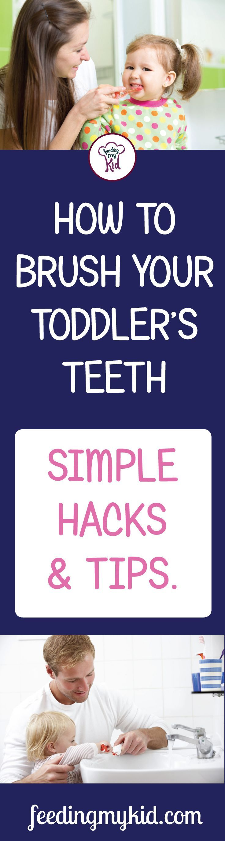 Learn how to brush teeth properly! In this article you'll learn everything you need to know to brush your toddler's teeth. Feeding My Kid is a filled with all the information you need about how to raise your kids, from healthy tips to nutritious recipes. #teeth #dentalcare #tips #parenting