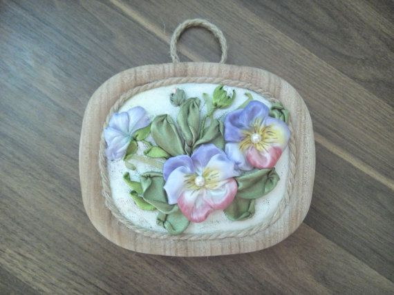 The picture Pansies is embroidered with the atlas ribbons on fabric. The size with the frame - 13.5cm X 11.5cm (5.5 X 4.5 )  The picture is in a handmade frame made of pure ligature tree. EXPRESS SHIPPING