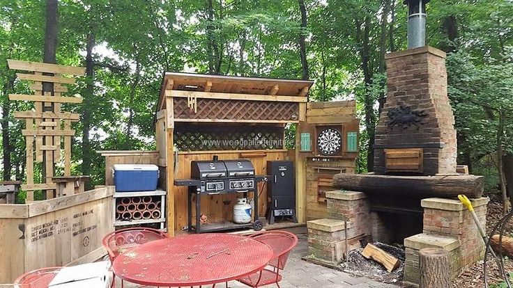 pallet patio grill cabinet