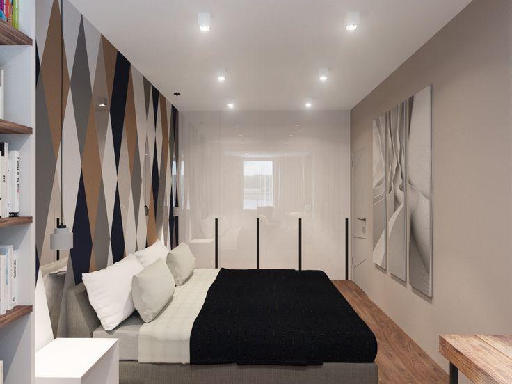 Трехкомнатная квартира для семьи. Гостевая спальня для молодой девушки. Спальня в современном стиле. Геометрический декор в изголовье кровати. Современная спальня. Bedroom. Contemporary.