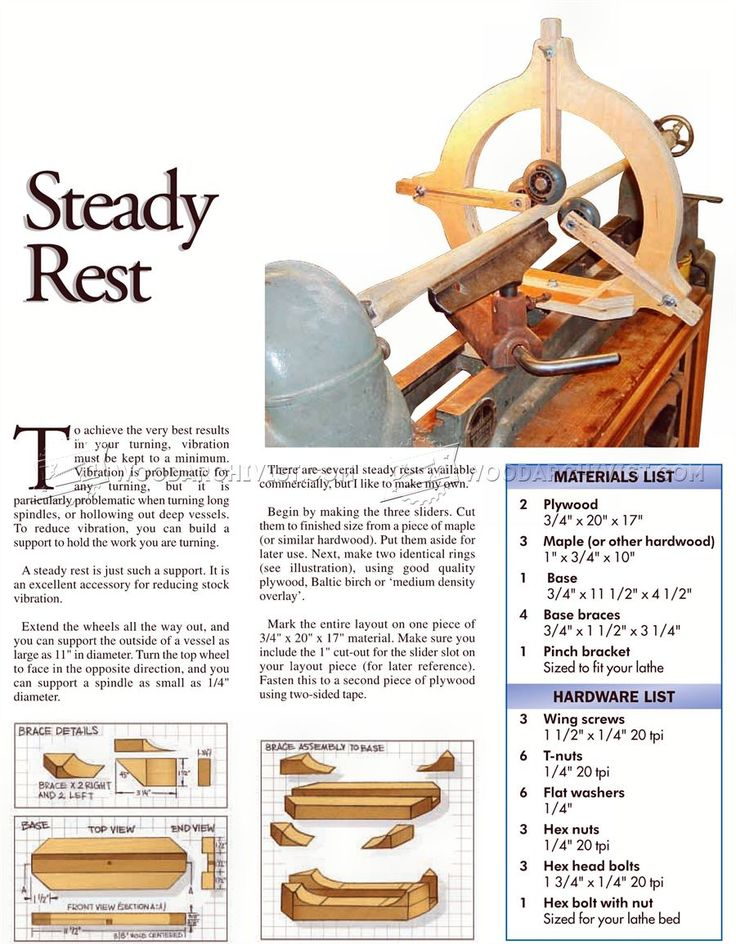 Wood Lathe Steady Rest Plans Lathe Tools Wood Lathe