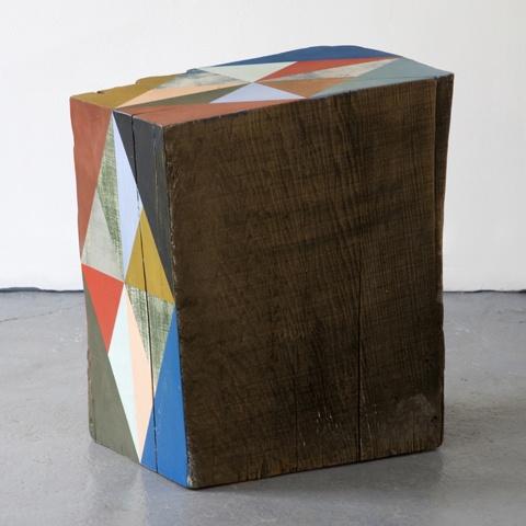 Serena Mitnik-Miller hand-painted reclaimed wood block sculpture