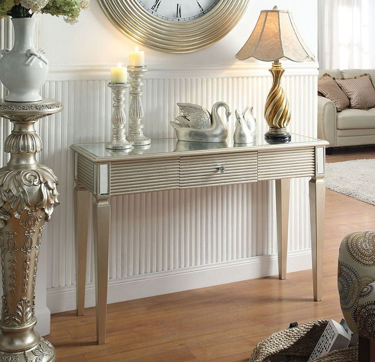 Shannon Silver Console Table 97231 Features :Shannon Collection Silver  FinishSolid Wood 50% MDF 40