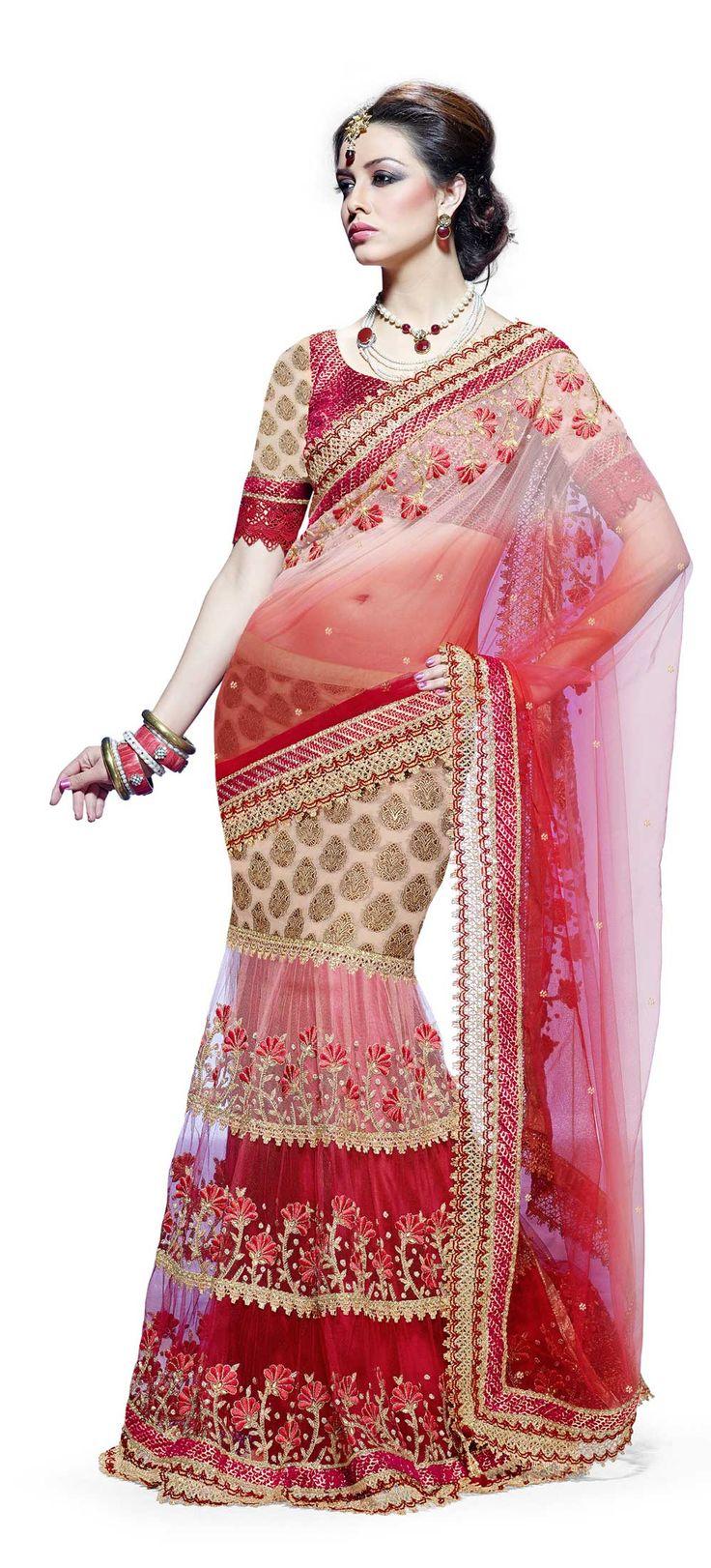 Mahotsav One Minute Saree - (Red)