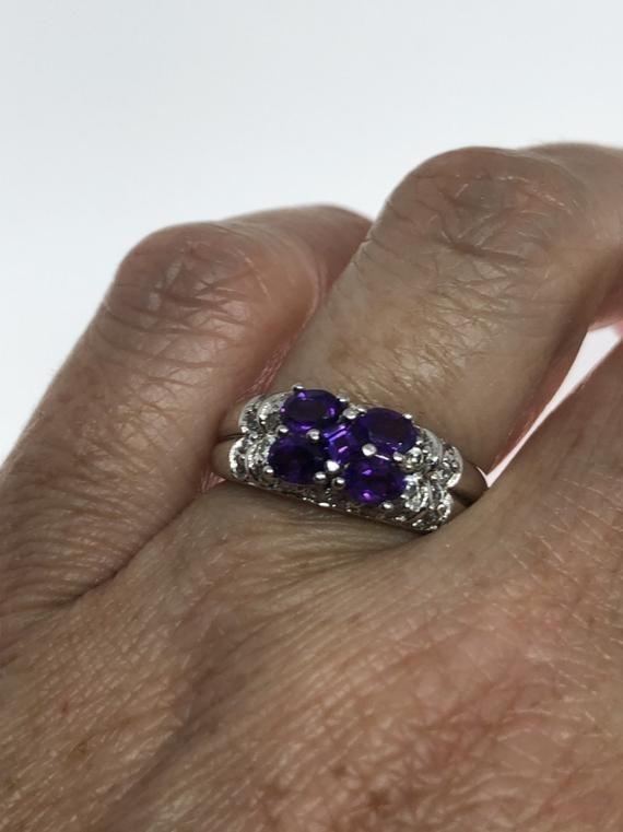 Vintage Handmade deep purple genuine Amethyst setting 925 Sterling Silver gothic Ring