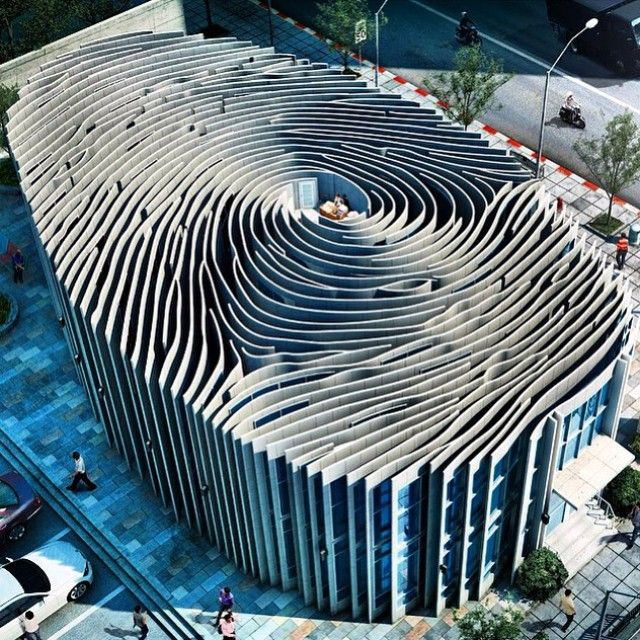 This building was created by an advertisement agency in Bangkok,several years ago for a company which makes fingerprint software.