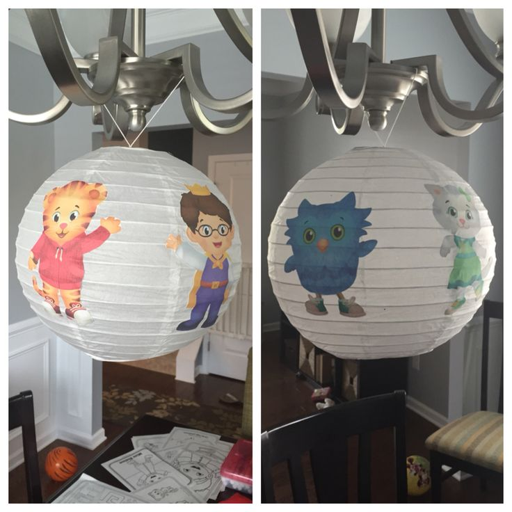 Daniel Tiger Birthday Lantern. Used a $3 Target paper lantern and the PBS printouts http://www-tc.pbs.org/parents/birthday-parties-pdfs/daniel-tiger-birthday-party/daniel-tiger-pinwheel-circles.pdf  Attached with Mod Podge glue
