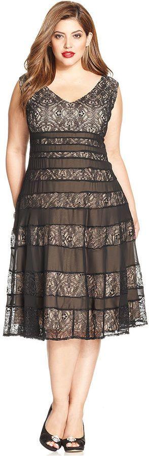 Anne Klein Plus Size Sleeveless Lace A-Line Dress