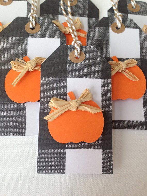 Halloween Parties Buffalo 2020 Black and White buffalo plaid tags with pumpkins | Etsy in 2020