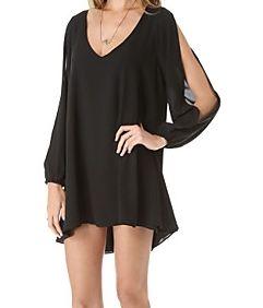 Klänning/Tunika i svart, tunn polyester och chiffong