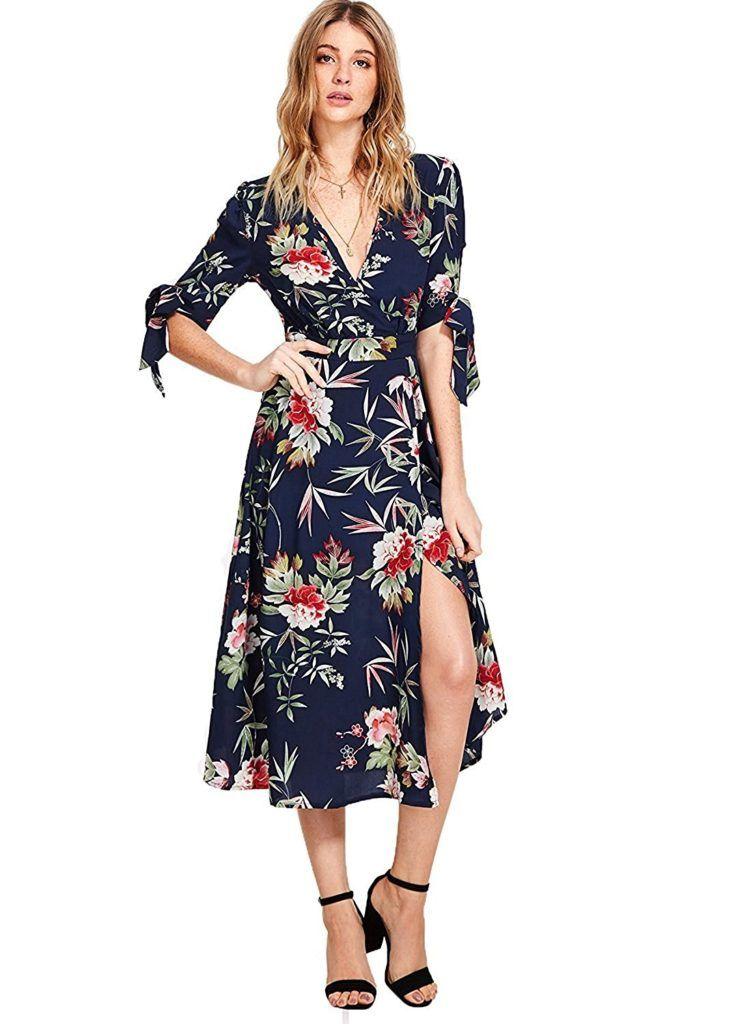 22cb7b30a4 Milumia Women s Boho Deep V Neck Floral Chiffon Wrap Split Long Maxi Dress