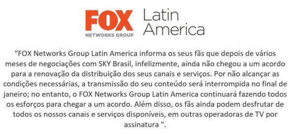 Após impasse, FOX anuncia retirada de seus canais da Sky Brasil