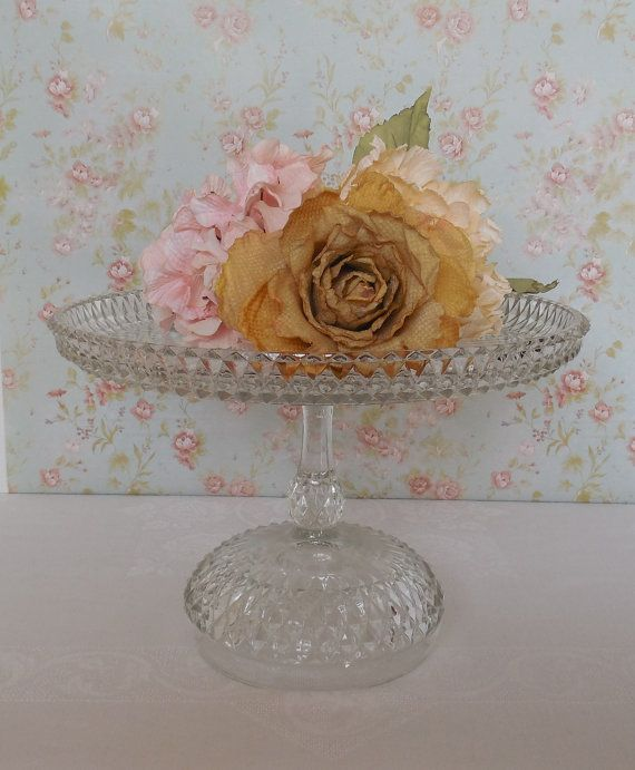 Vintage Glass Cake Stand / Diamond Point / by OrangeZebraDesigns