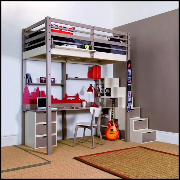 Espace Loggia Lit Mezzanine Mod Ado Meuble Contemporain Design Gain De Place Too High Gen Ve