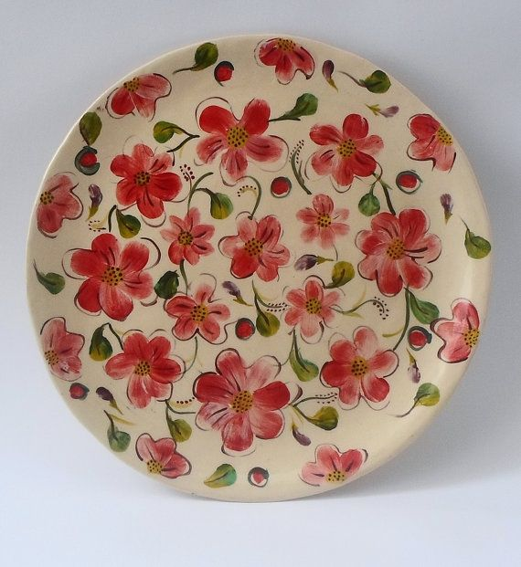 Flowerd Plate by LimorsCeramicsShop on Etsy, $25.00