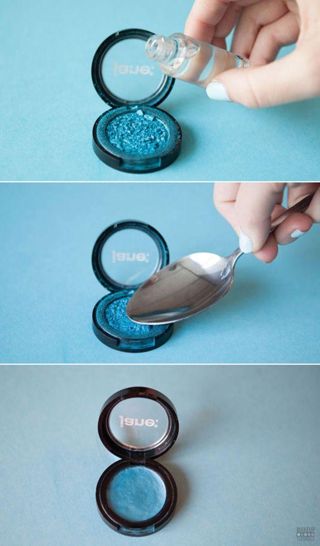 Makeup hacks, how to fix broken makeup. | http://makeuptutorials.com/diy-beauty-tips-and-tricks/