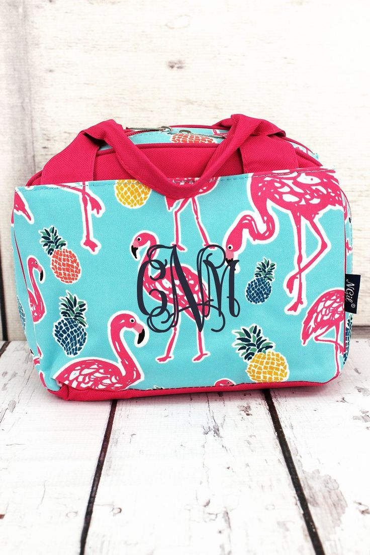 Tropical Flamingo Insulated Lunch Bag in Pink or Navy Trim/ Bowler Type Lunch Bag/ Insulated Lunch Bag for Women/ Insulated Lunch Bag Nurse