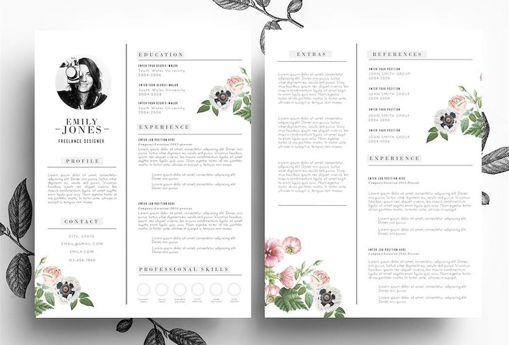Creative CV+Cover Letter/PSD+Word by Emily's ART Boutique on @creativemarket