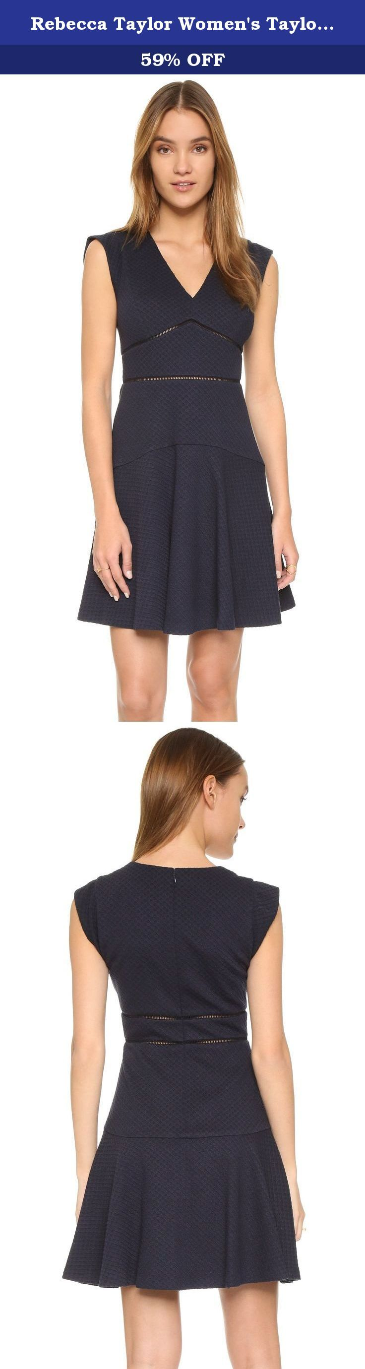 Rebecca Taylor Women's Taylor Dress, Navy, 4. Honeycomb texture lends visual depth to this knit Rebecca Taylor dress. Ladder stitches define the inverted basque waist, and a seamed panel smooths the flounced skirt over the hips. Deep V neckline. Cap sleeves. Lined.