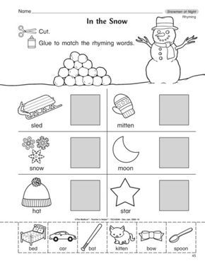 Reinforce rhyming pictures and words with this free skill sheet from TheMailbox! A great followup to the story Snowmen at Night by Caralyn Buehner.