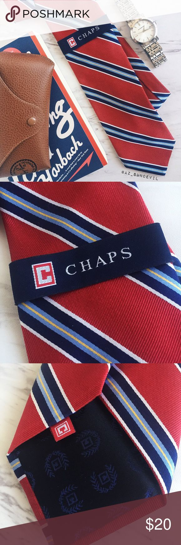 Chap's 100% Silk Striped Tie Chap's | 100% silk striped tie in red/blue. New with tags. Chaps Accessories Ties
