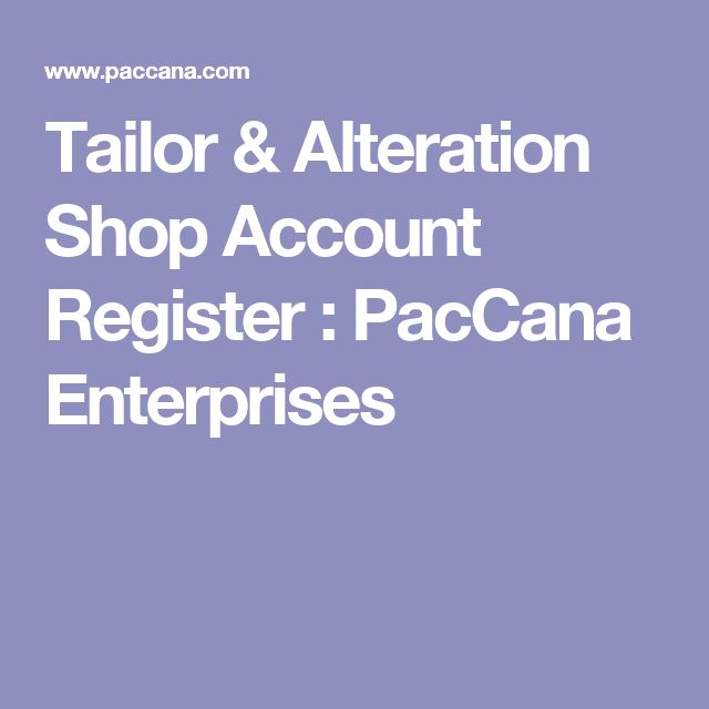 Tailor & Alteration Shop Account Register : PacCana Enterprises