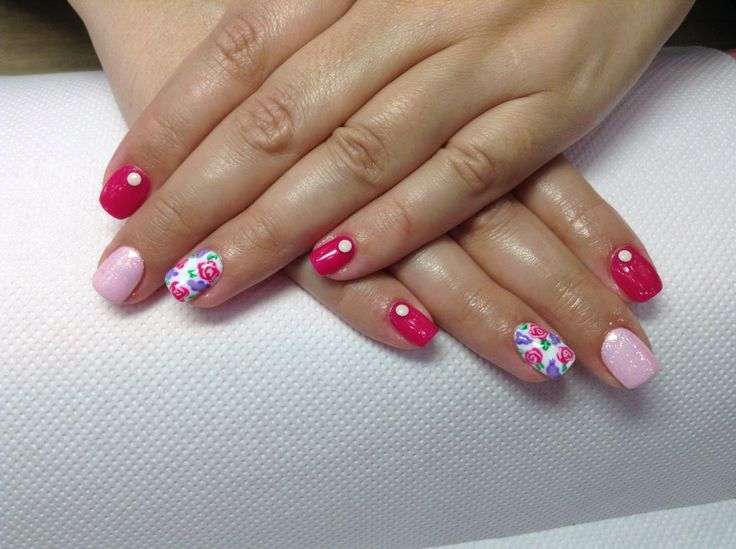 #nails roses pinknails marmaid efect
