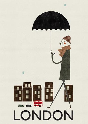 London - rain: Blanca Gomez, Vintage London, London Travel, Illustrations, Cities, Places, London Call, Prints, Vintage Travel Posters