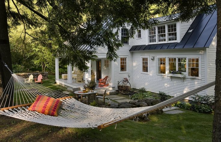 Pretty-Cacoon-Hammock-method-Other-Metro-Traditional-Exterior-Remodeling-ideas-with-black-tin-roof-garden-garden-furniture-hammock-lawn-Porch-tin-roof-white-wood-house