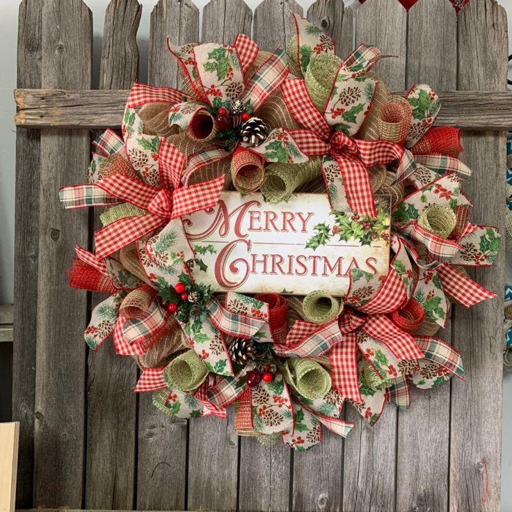 Aufgeregt, diesen Artikel aus meinem #etsy-Shop zu teilen: Merry Christmas Burlap Wreath – H …   – Crafty