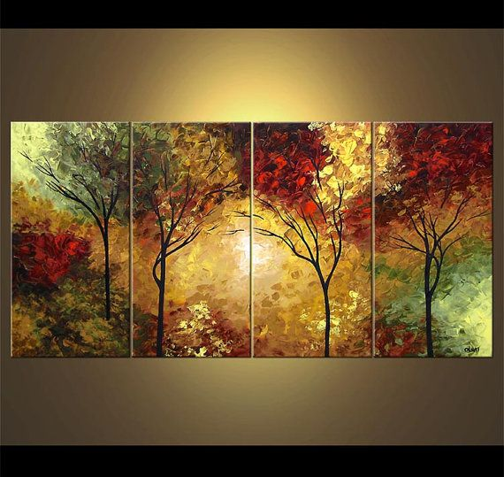Paisaje árboles florecientes pintura Original acrílico moderno