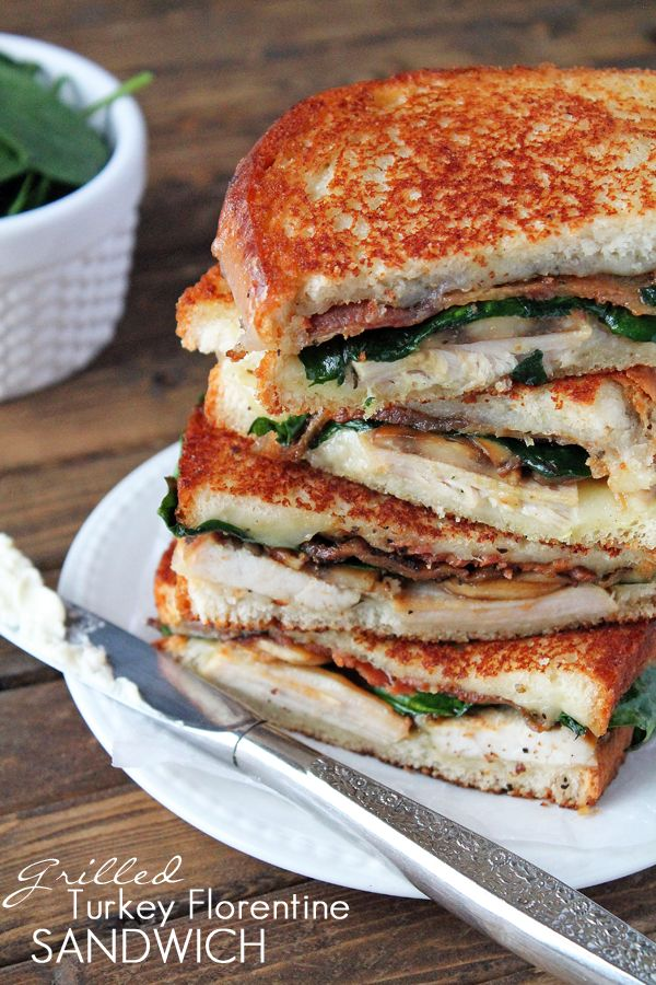 These Grilled Turkey Florentine Sandwiches are loaded with tender turkey, peppered bacon, baby spinach, buttery mushrooms, and lots of melty provolone cheese! YUM! Best sandwich ever!