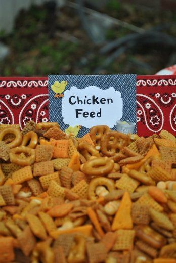 chex mix for the favor jars? with a chicken on top?