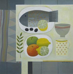 "Reg Cartwright - Grey Still Life with Fish (oil on board 24"" x 24"")"
