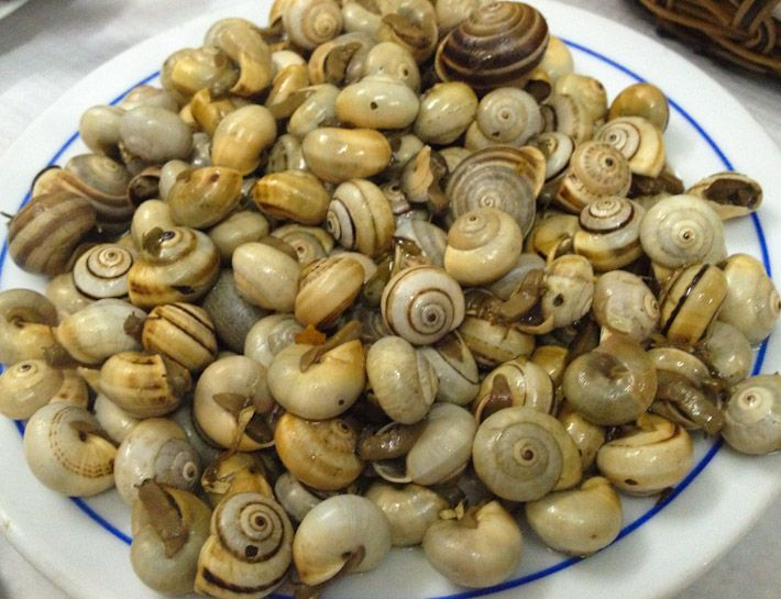 Caracois: buttery snails cooked with butter and herbs. In Lisbon!
