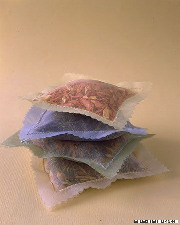 Herbal sachets for keeping moths from your clothes OR you can use them to keep your clothes smelling fresh by putting lavender, rose, or orange in them.  Anything you want there are tons of herbal concoctions out there.