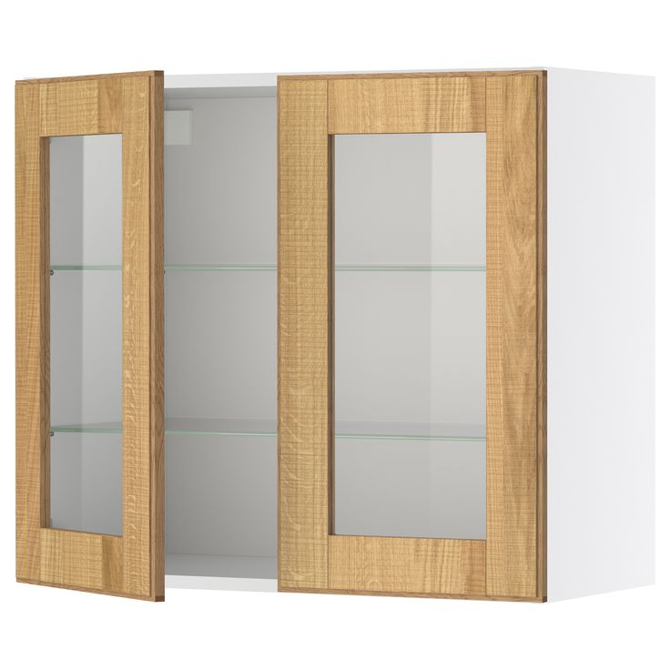FAKTUM Wall cabinet with 2 glass doors - Norje oak, 60x70 cm - IKEA