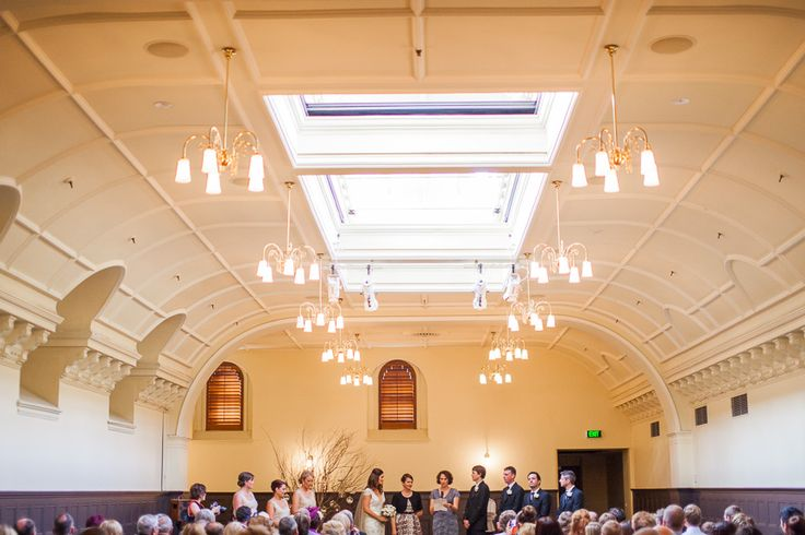 The Supper Room at Melbourne Town Hall creates such an elegant backdrop for a wedding... we just love the photos from Melissa & Gareth's ceremony! #bride #groom #weddingvenue